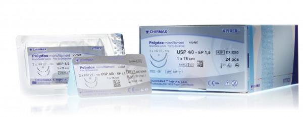 Nahtmaterial VITREX Polydox mono. viol. USP 1, HS, 37 mm 0.75m, 24 pcs