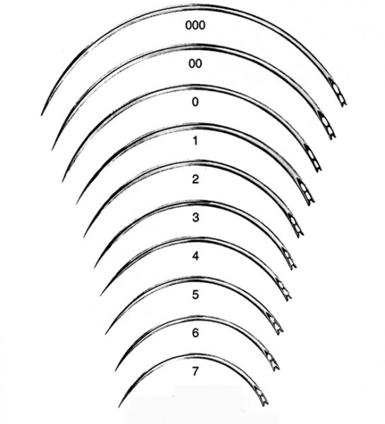 Wundnadeln BL098N 3/8-Kr. 3-kant. Gr. 00 12 Stück